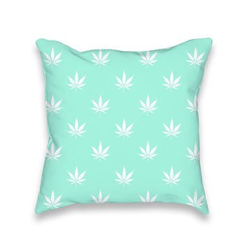Tiffany Turquoise Mint Cannabis Print Throw Pillowcase Only