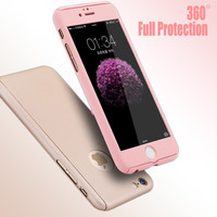 New 360 Degree Full Body Cover Shockproof Hard Protective Case With Front Clear Tempered Glass Film For iPhone 6 for iPhone 6S