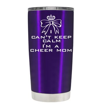 Can't Keep Calm, I'm a Cheer Mom on Translucent Purple 20 oz Tumbler Cup
