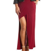 Asymmetrical Wrap Maxi Skirt by Charlotte Russe - Wine