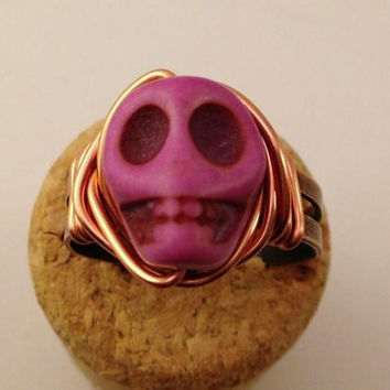 Purple Skull Ring - Purple and Copper Ring - Adjustable Ring - Halloween Ring - Horror Jewelry - Day of the Dead - Howlite Skull Ring