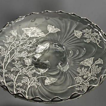 Footed Cake Plate, Silver City, Flanders-Clear, Sterling Silver Overlay, Scalloped Edged