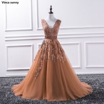 Vinca sunny 2018 Sparkly Beaded Dubai Floor Length V Neck Lace Appliques Tulle Ball Gown Prom Dresses Long Prom Dress