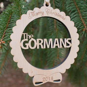 Personalized Christmas ornament ,  Custom Family Name Christmas ornament , laser cut wooden engraved ornament