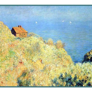 The Fishermans House At Varengeville inspired by Claude Monet's impressionist painting Counted Cross Stitch or Counted Needlepoint Pattern
