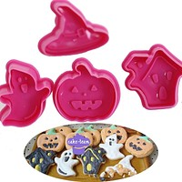 4pcs/set Halloween Cookie Cutters Cake Decoration Biscuit Confectionary Baking Bakeware