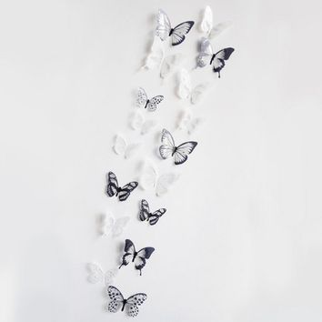 2015 new 18 Pieces 3D Butterfly Decor Wall Sticker Home Wall Decals