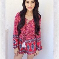 {REVERSE OFFICIAL} Tassel Tease Playsuit- Red Print