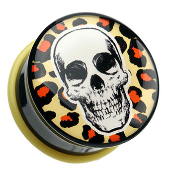 Leopard Skull Single Flared Ear Gauge Plug