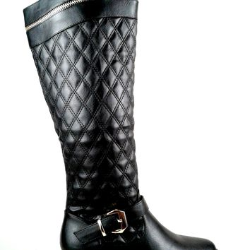 Women's Faux Leather Boot with Quilt Design and Zipper Detail