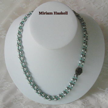 1950s Miriam Haskell Necklace Silver Baroque Pearls Turquoise Glass Beads