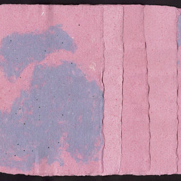 "Specialty Handmade Paper, Deckle Edge, 5 Sheets, 5"" x 7"", Pink, Purple, Recycled Paper, Textured,  Special Paper, One of a Kind, Unique"