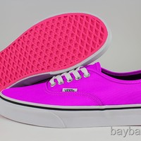 VANS AUTHENTIC NEON PURPLE/PINK/BLACK/WHITE BRIGHT CLASSIC SKATE US WOMENS SIZES