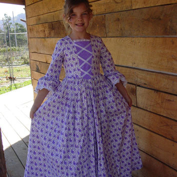 New Historical Pioneer Girl Clothing Modest Costume Colonial Day Dress -Purple- Child Sizes up to 14