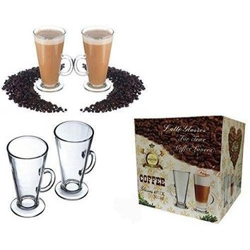 Glass Tea Coffee Cup Mug Fits Tassimo Dolce Gusto Size Large SET of 4 300 ML