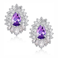 Purple Teardrop and Clear Baguette and Round Cubic Zirconia Stud Earrings