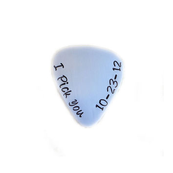 I Pick You Personalized Guitar Pick, Hand Stamped Guitar Pick, sterling silver copper brass