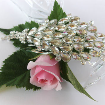 "Crystal Bridal Hair Comb ""Field Bouquet"", Wedding Hair Pieces, Rhinestone Combs, Wedding Hair Accessories, Bridal Headpieces, Jewelry"