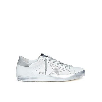 Golden Goose Super Star White Silver Sneakers