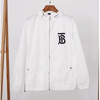 Burberry New fashion letter print long sleeve top coat windbreaker White