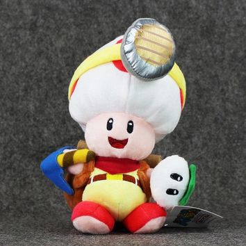 Super Mario party nes switch Hot selling 5pcs/lot 20cm Standing Captain Toad  Brother Mushroom Toad  Stuffed Toy Plush Doll Toy AT_80_8