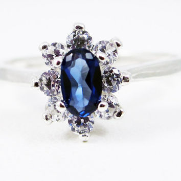 Small Blue Sapphire Oval Halo Ring Sterling Silver, September Birthstone Ring, Oval Blue Sapphire Ring, Sterling Sapphire Ring, 925 Ring