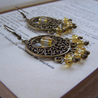 Antique Gold Czech Glass Beaded Chandelier Earrings - Handmade Chandelier Earrings - OOAK