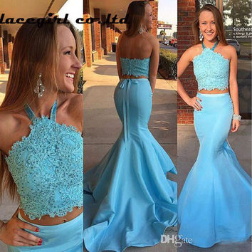 Two Pieces Mermaid Prom Dresses 2016 Sky Blue Crystal Beading Lace Applique Long Robe Bal De Promo Party Formal Occasion Gowns
