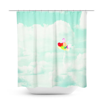 Balloons in Mint Sky Shower Curtain