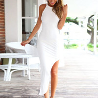 White Halter Sleeveless Slit Maxi Bodycon Dress