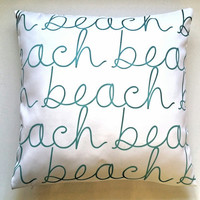 Pillow Cover, Beach Pillow Cover, 18 x 18 / 20 x 20, White & Teal Pillow Cover, Miami Pillow Cover, Throw Pillow, Toss Pillow, Sofa Pillow