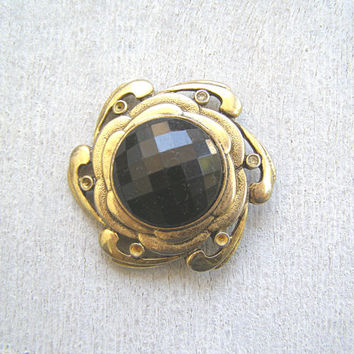 Vintage Gold Black Circle Brooch, Art Deco Mid century Mod Jewelry, Mad Men Inspired Woman Christmas Gift Under 20, 60s Retro Fashion Trends