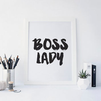 Boss Lady, Girl Boss, Girl Boss Print, #girlboss, Office Decor, Desk Accessories, Black and White art, Inspirational Quote, Printable Art