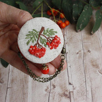 Bohemian embroidered brooch Orange rowanberry hand embroidery jewelry Ukrainian vyshyvanka bohemian romantic gift linen autumn terracotta