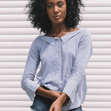 Totally Sophisticated Blue Button Up Blouse