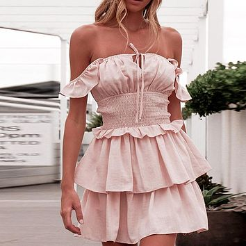 Fashion Ruffle Shoulder Strap Short Dress Women Tube Top High Waist Mini Dress