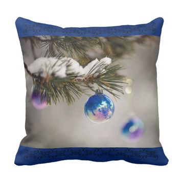 Throw blue Christmas pillow