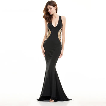 Goddess Athena Black and Gold Dress