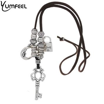 Yumfeel Romantic Engraving Love Heart Lock Key Charm Necklace Vintage Silver Pendants & Necklaces New Year Gifts Women