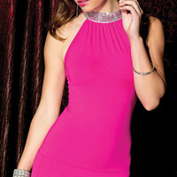 Pink Halter Neck Sequined Bodycon Mini Dress