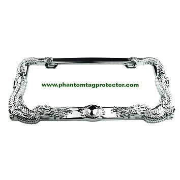 Phantom Tag Protector Front & Rear ABS Dragon 2pcs Set Automobile License Plate Frames