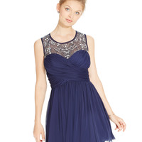 B Darlin Juniors' Jeweled Illusion Chiffon Party Dress