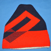 80s Blue Red Geometric Ski Knit Winter Hat