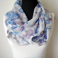 Viscose Floral Scarf for Women Infinity Scarves Spring Accessories Summer Scarf Blue White Chiffon Flowers Scarf Infinity Floral Gift Ideas