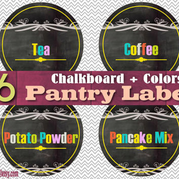 36 Large Pantry Labels - Chalkboard/Yellow - Instant download - Printable PDF - 8.5 x 11'' - Easy Organizing