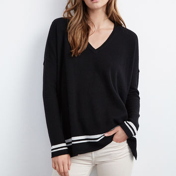 STORMY DOUBLE STRIPE CASHMERE SWEATER
