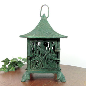 Vintage JAPANESE GARDEN Tea Lantern Pagoda Candle Cast Iron DRAGONFLY Green