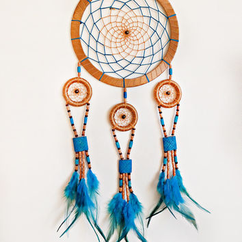 DreamCatcher, Boho Dreamcatcher, Large Dream catcher  Turquoise Dream catcher, Handmade, Wall Hanging, Home Decor, Feathers , Gypsy