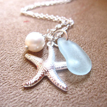 Bridesmaids Jewelry  for beach wedding - Seafoam seaglass Necklace with Starfish & swarovski pearl - Perfect nautical gift - FREE SHIPPING