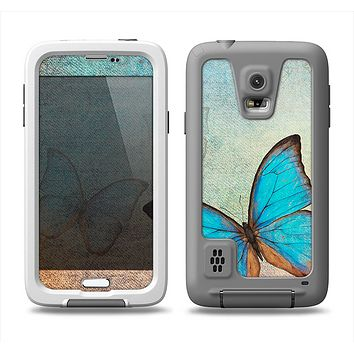 The Vivid Blue Butterfly On Textile Samsung Galaxy S5 LifeProof Fre Case Skin Set